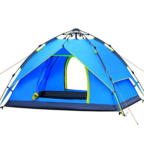 AYAMAYA Hydraulic Automatic Pop Up Camping Tents 3-4 Person/People/Man, Waterproof [2 Doors] [Double Layer] Quick Easy Setup UV Protection Big Family Beach Dome Tent for Hiking Picnic Backpacking -