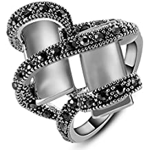 Yfnfxl Womens White Opal Rings Black Rhinestones Vintage Two Cuboid Pave Finger Cocktail Rings