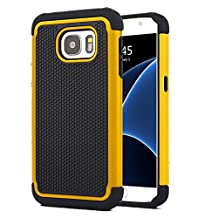 Galaxy S7 Case , MCUK [Drop Protection] [Shock Absorption] [Heavy Duty Protection] Hybrid Hard Football lines Premium Dual Layer Case Cover for Samsung Galaxy S7 (Yellow)