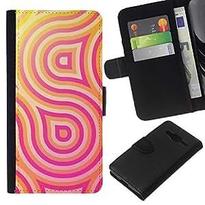 Planetar® Modelo colorido cuero carpeta tirón caso cubierta piel Holster Funda protección Para Samsung Galaxy Core Prime / SM-G360 ( Pattern Lines Pink Yellow )