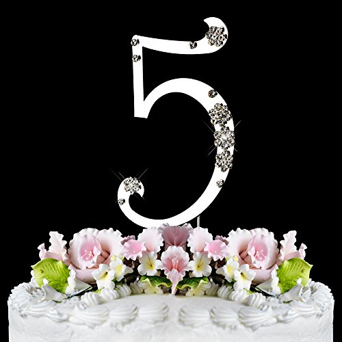 5th Birthday or Anniversary Silver Wedding Swarovski Crystal Flower Cake Topper Crystal Cake Jewelry (Cake Jewelry Swarovski)
