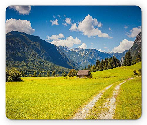 Nature Mouse Pad, Julian Alps Mountain Valle Rural with Wooden Country House Paradise Picture, Standard Size Rectangle Non-Slip Rubber Mousepad, Lime Green Sky ()