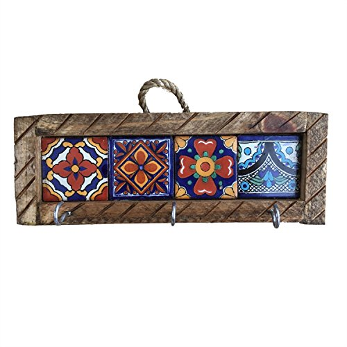 Casa Fiesta Designs Mexican Key Holder with Metal Hooks and Colorful Talavera Tiles - Mexican Style - Talavera Wall Art - Mexican Home Decor - Assorted Tiles - Portallaves Multicolor ()