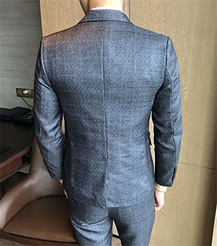 FOLOBE Mens 3-Piece Suit Single Breasted One Button Business Blazer Jacket, Grey by FOLOBE (Image #3)