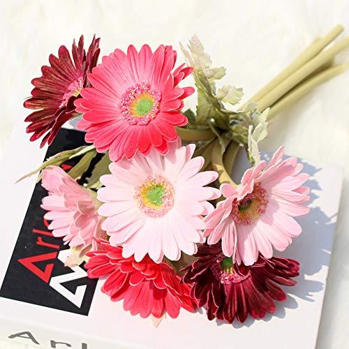 Ahvoler Artificial Gerbera Flower Realistic Fake Daisy Flowers Bridal Wedding Bouquet for Home Garden Wedding Party Decorations,7 Stems (Wine+Pink) ()