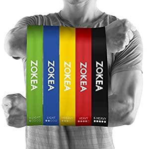 Resistance Bands Exercise Set of 5 12inch Workout Loop Mini Bands with 100% Natural Latexl for Workout and Physical Therapy by ZOKEA