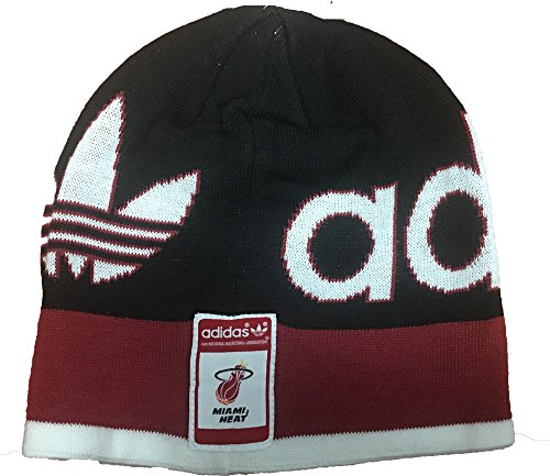 adidas NBA Miami Heat Knit Hardwood Classics Beanie Hat Black Red