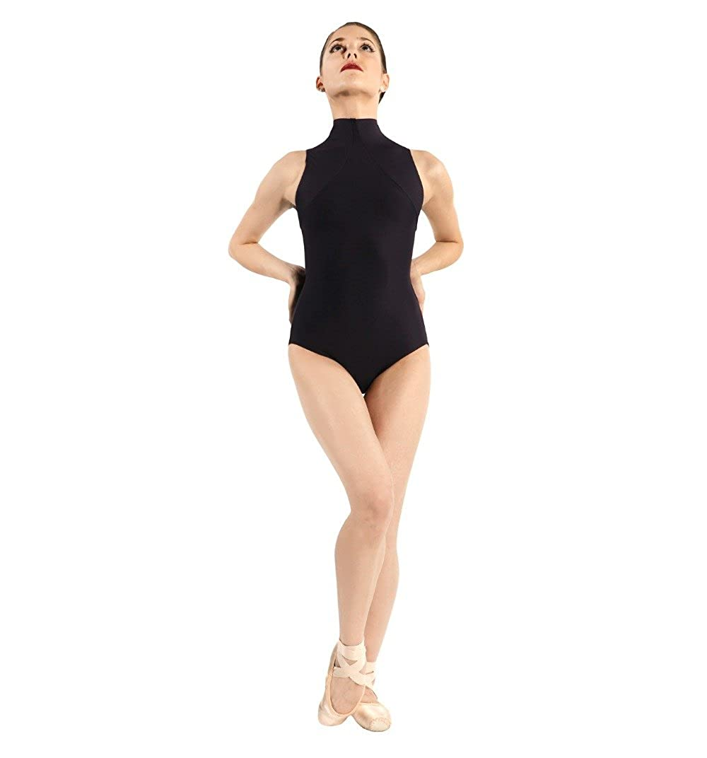Womens Lycra Spandex Mock-Turtleneck Neck Sleeveless Open Back Yoga Ballet Dance Leotard