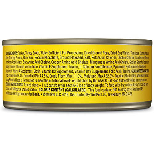 Wellness Natural Grain Free Wet Canned Cat Food, Minced Turkey Entrée, 5.5-Ounce Can (Pack of 24)
