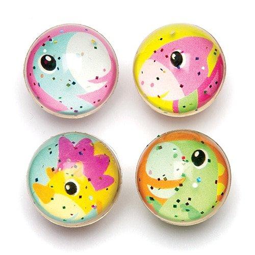 Palline Rimbalzine Glitterate con Dinosauri per Bambini - Sorprese per Buste Regalo o Premi per Bambini (Confezione da 8) Baker Ross