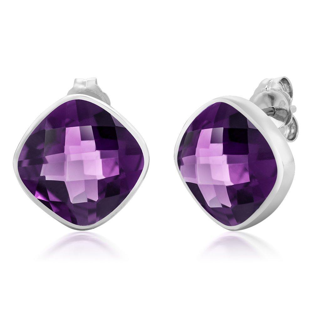 89a8f8185 Amazon.com: Gem Stone King 925 Sterling Silver Amethyst Stud Earrings For  Women 12.00 Ctw Gemstone Birthstone Cushion Cut 12MM: Jewelry
