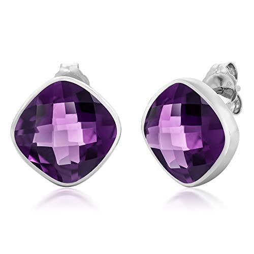 Gem Stone King 925 Sterling Silver Amethyst Stud Earrings For Women 12.00 Ctw Gemstone Birthstone Cushion Cut 12MM