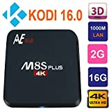 Android TV Box Fully Loaded ANEWISH M8S Plus Amlogic S905 Quad Core 2GB RAM 8GB Flash 64bit Cortex A53 Up to 2.0Ghz 4K 1000M Gigabit Lan Android 5.1.1 Kodi 16.0 Bluetooth 4.0 Dual 2.4G/5G Wifi Streaming Media Player with Infra Remote Control