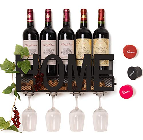 SODUKU Wall Mounted Metal Wine Rack 4 Long Stem Glass Holder & Wine Cork Storage (Decor Glass Wall)