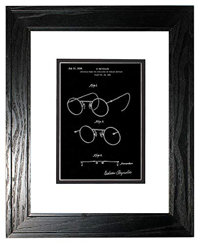 Eyeglasses Black Frame 101 - Spectacle Frame for Eyeglasses Patent Art Black Matte Print in a Black Pine Wood Frame with a Double Mat (13