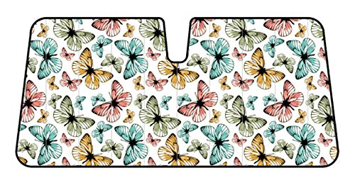 BDK Colorful Monarch Butterfly Design Car Sun Shade-Durable Double Layer, Anti-Glare Auto Shade
