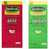 Herb-Ox Sodium Free Bouillon Bundle,`Beef and Chicken, 100 Total Packets