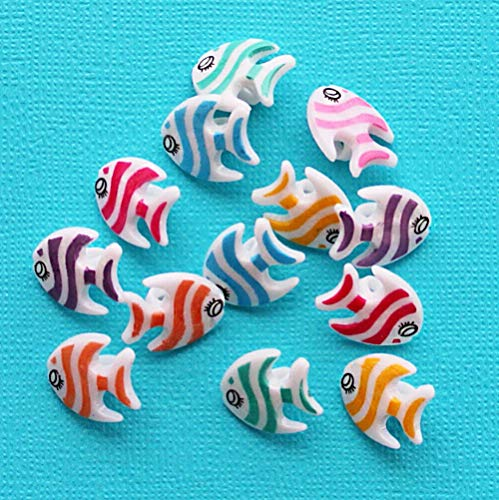 15 Fish Buttons Colorful Acrylic Striped Fish Shank Buttons for Pendant Bracelet DIY Jewelry Making ()