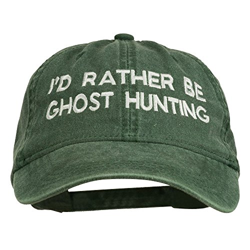 e4Hats.com I'd Rather Be Ghost Hunting Embroidered Washed Cap - Dark Green OSFM