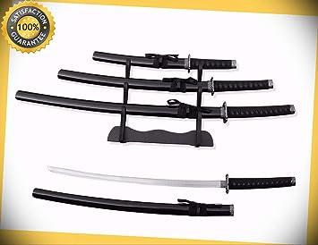 "3Pc Samurai Sword Set w// Stand 39.5/"" Katana 30/"" Wakizashi 22/"" Tanto"