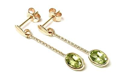 9ct Gold Peridot Oval long Drop earrings BeggN3