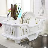 NYAL ENTERPRISE 3 In1 Kitchen Sink Plastic Dish Rack with Drain Board and Utensil Cup (Random Colour)