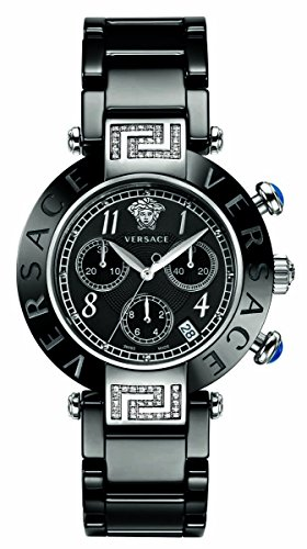 Versace Women's 95CCS91D008 SC09 Reve Black Ceramic Chronograph Diamond Watch