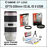 Canon Zoom Telephoto EF 70-200mm f/2.8L II IS USM Autofocus Lens With Opteka 77mm UV and CPL Filters and 5 Piece Cleaning Kit