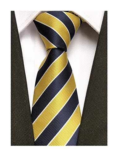 (Elfeves Men's Modern Striped Patterned Formal Ties College Daily Woven Neckties (One Size, Navy Yellow))