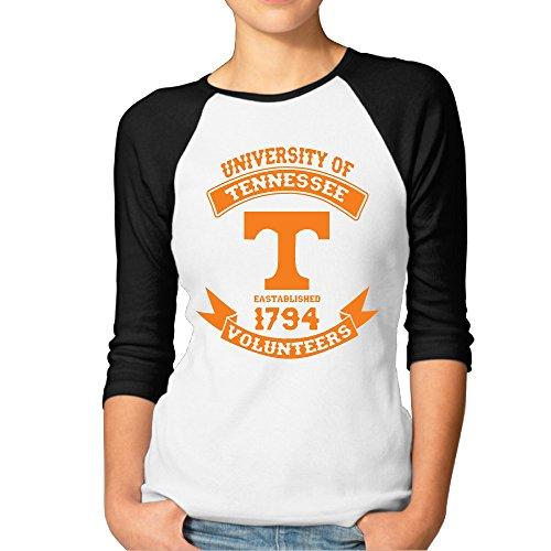 ElishaJ Women's University Of Tennessee 3/4 Raglan Sleeves Baseball Tshirt Black XXL (Tennessee Schedule Watch)