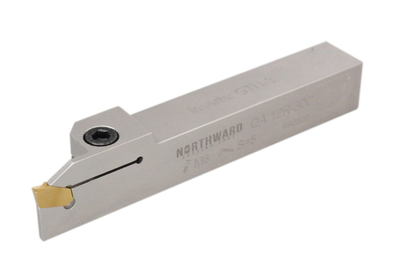 Accusize Tools - 3/4'' x 3/4'' Heavy-Duty Indexable Grooving & Cut-Off Holder, Cut Off Tool, Parting Tools, Nickel Plated, with GTN-2 TiN Coated Carbide Inserts (2403-4003), QA08R-20B, 2415-5030
