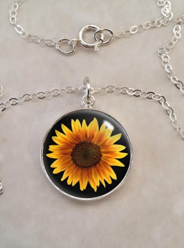 Yellow Sunflower Flower .925 Sterling Silver Necklace