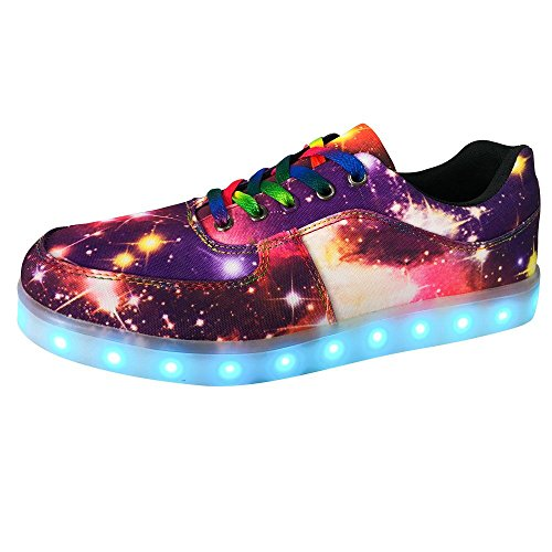 DAYOUT Womens Fashion Led Lights up Sneakers Men Luminous Shoes High Top Lovers Canvas Shoe (Womens US 6.5/EU 37, Purple Low Top) by DAYOUT