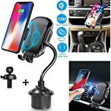 Marrrch Wireless Car Charger,Full-Automatic 10W Qi Fast Charging Cup Phone Holder & Air Vent Car Phone Mount Compatible with iPhone Xs/XS MAX/XR/X/8/8,Galaxy S7/S8/S9/S10 and More (Black)