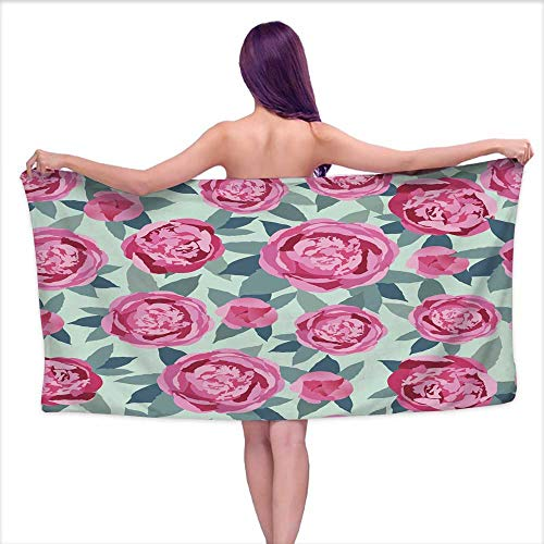 Tankcsard Bath Towel bar Flowers Seamless Bright Wallpaper - Vector Pattern,W28 xL55 for Beach