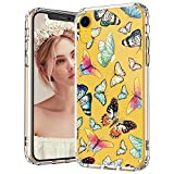 MOSNOVO iPhone XR Case, Clear iPhone XR Case, Butterfly Pattern Clear Design Transparent Plastic Hard Back Case with Soft TPU Bumper Protective Case Cover for Apple iPhone XR