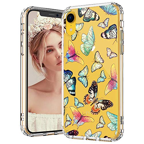 - MOSNOVO iPhone XR Case, Clear iPhone XR Case, Butterfly Pattern Clear Design Transparent Plastic Hard Back Case with Soft TPU Bumper Protective Case Cover for Apple iPhone XR