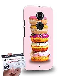 Case88 [Motorola Moto X (2nd Gen)] 3D impresa Carcasa/Funda dura para & Tarjeta de garantía - Art Sweets Pattern Donut Stack Donut Assorted