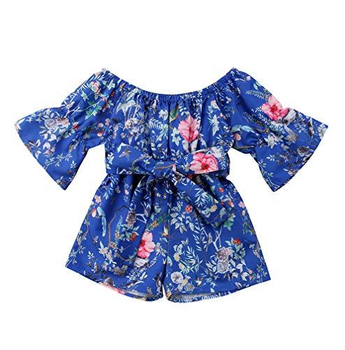 Lzxuan Blue Floral Dress Toddler Infant Baby Girls Short Sleeve Off Shoulder Rose Blue Dress Summer Outfits Clothes (Blue, 12-24 ()