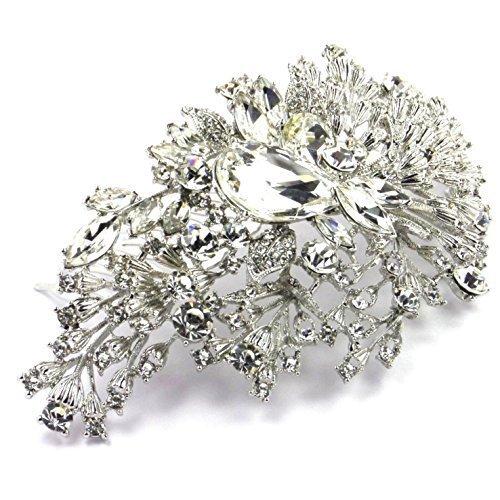 l Wedding Prom Vintage Vine Silver Crystal Large Hair Slide Side Comb by Bride Boutique ()