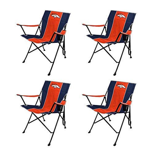 Rawlings NFL TLG8 Outdoor Folding Chair 4-Pack Bundle with Carry Cases (Denver Broncos) | Includes Armrests with Cupholders | Great for Tailgaiting, Camping, or Backyard Barbecues