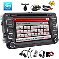 EinCar Double din 7 inch Car Stereo Radio Unit in Dash Car DVD Player GPS Navigation with 8GB Map Card Bluetooth Touch Screen for VW Volkswagen Jetta Golf Passat + Free Canbus + Wireless Rear Camera