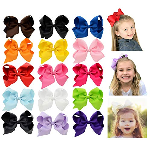 6 Inch Large Baby Hair Bows Barrettes Clip Holders Accessories For Toddler Girls 15 pcs by YHXX YLEN