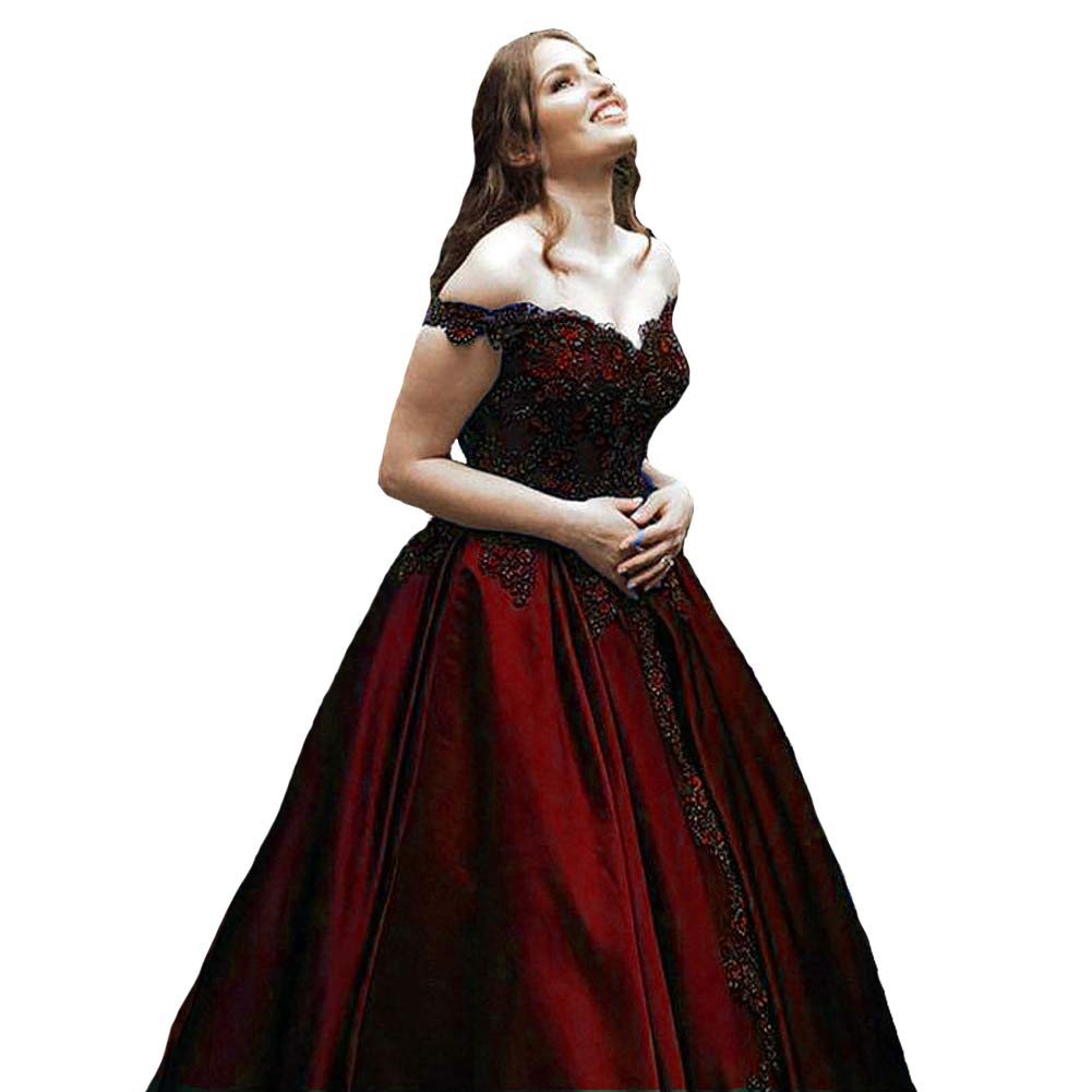 Burgundy Kivary Off The Shoulder V Neck Beaded Lace Long Ball Gown Prom Evening Dresses
