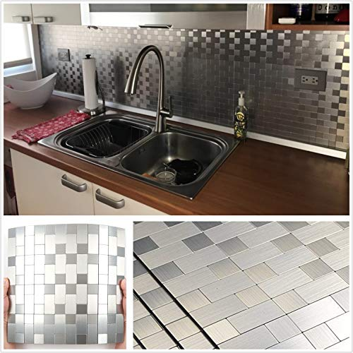 HomeyStyle Peel and Stick Tile Backsplash for Kitchen Wall Decor Metal Mosaic Tiles Sticker,Silver Subway 12