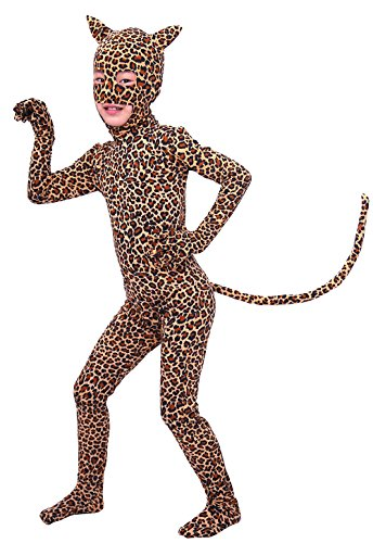Sheface Kids Leopard Spandex Halloween Costumes (Medium, (Leopard Girl Costume)