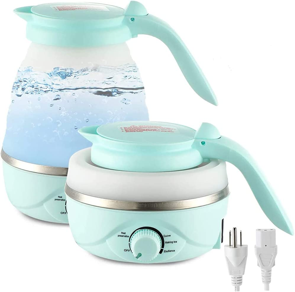 Gootrades 0.7 L Portable Electric Travel Kettle,Collapsible&Foldable with Temperature Control,Auto Keep&Boil Dry Protection,Food Grade Silicone Mini Electric Kettle for Boiling Water