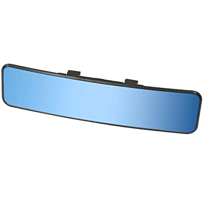 KITBEST Anti Glare Rearview Mirror, Universal Car Interior Rear View Mirror Panoramic Convex Clip On Wide Angle Blue Tint Mirror to Reduce Blind Spot and Antiglare Effectively: Automotive