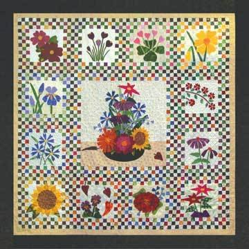 Checkerboard Flowers - An Applique Quilt Pattern + Fabrics - 88