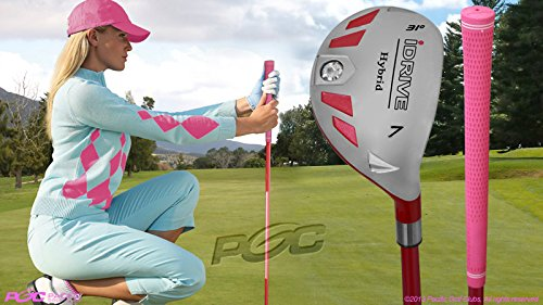 Women's iDrive Golf Clubs All Ladies Pink Hybrid Complete Full Set which Includes: #4, 5, 6, 7, 8, 9, PW +SW Lady Flex Right Handed New Rescue Utility ''L'' Flex Club by Integra (Image #4)